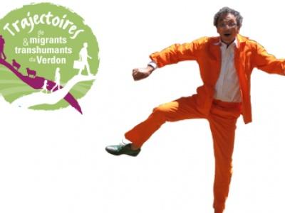 image du CrieuR du Verdon et logo de l'événement Trajectoires de migrants et transhumants du Verdon.